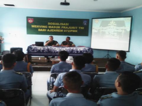Sosialisasi Werving Masuk Prajurit dari Ajenrem 072/PMK Yogyakarta